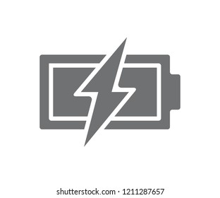 Vector power battery with lightning bolt icon. Fully charged accumulator symbol and sign illustration on white background
