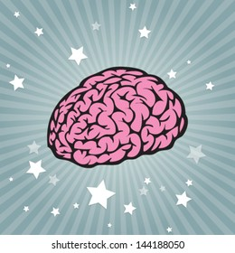 Vector power brain on striped background