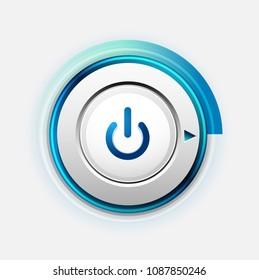 Vector power button technology logo, digital art techno concept, on off icon