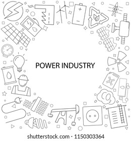 Vector Power industry pattern. Power industry background with world