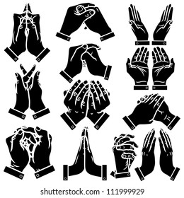 Vector praying hands silhouettes set