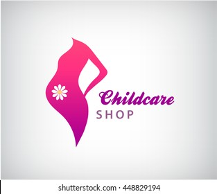 Vector pregnancy logo, pregnant woman silhouette icon with flower