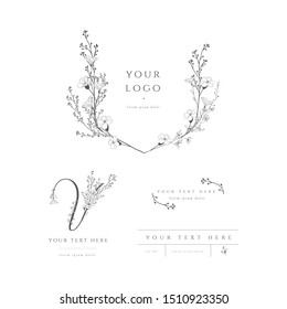 Vector pre-made logo branding kit, floral monogram. Decorated with detailed delicate flowers and brunches. Event planner, wedding planner, photography