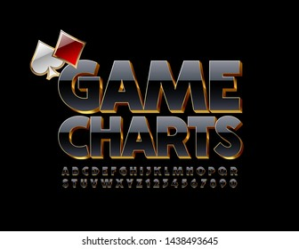 Vector premium banner Game Charts with cards. 3D Uppercase Font. Black and Golden elite Alphabet Letters and Numbers