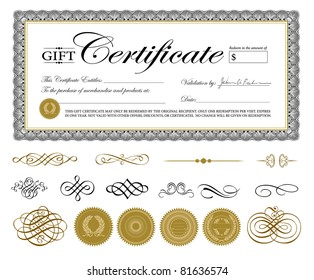 Vector Premium Certificate Template and Ornaments. Easy to edit. Perfect for gift certificates and other awards.