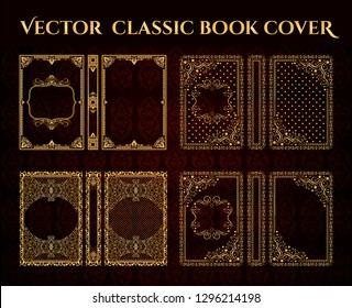 Vector premium, classical Book cover set. Decorative vintage frame or border to be printed on the covers of books. Drawn by the standard size. Color can be changed in a few mouse clicks.