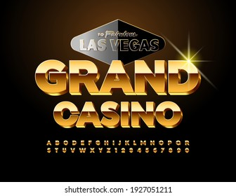 Vector premium logo Grand Casino with decorative sign Las Vegas. Rich Golden Font. Elite Alphabet Letters and Numbers set
