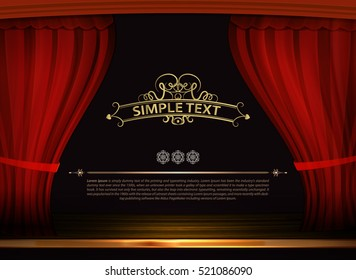 Vector Premium red curtains in theater or opera. Dark red curtain scene gracefully with simple text. Elegance vector backdrop for poster. Classic podium