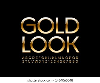 Vector premium sign Gold Look. Chic Uppercase Font. Shiny elite Alphabet Letters and Numbers