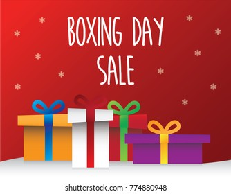 vector of present boxes with boxing day sale concept