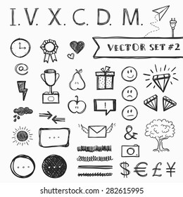 Vector presentation elements set, hand-drawn, black and white