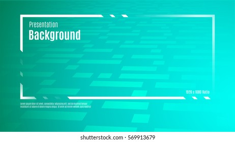 Vector of presentation title frame on green gradient background with abstract shape texture (1920x1080 ratio). mock up for adding your content,Technology theme