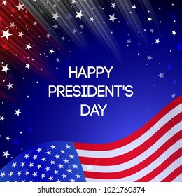 Vector Presidents Day card. National american holiday illustration with USA flag on black background. Festive poster or banner .