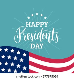 Vector Presidents Day card. National american holiday illustration with USA flag on rays and stars background. Festive poster or banner with hand lettering.