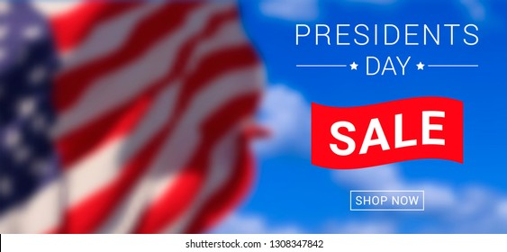 Vector Presidents Day Sale banner design template with text on blurred sky background with american flag.