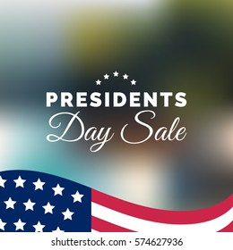 Vector Presidents Day Sale card. National american holiday illustration with USA flag. Festive discount poster or banner with hand lettering.