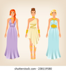 Vector pretty females in greek styled goddess dresses