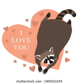 vector pretty raccoon with heart. vector illustration.