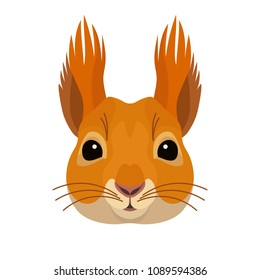 Vector pretty squirrel face forest animal icon