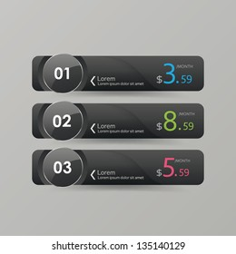 Vector price buttons for commercial web services, hosting.