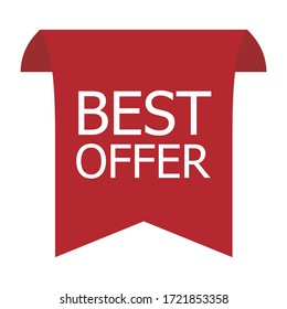 Vector price tags ribbon sale banners. Isolated best offer.