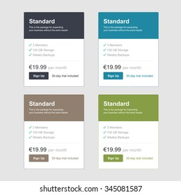 Vector Pricing Price Table List Comparison Plan Web Template Banner Isolated