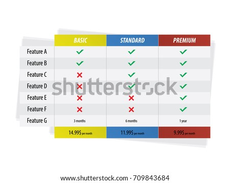 vector pricing table business plans basic のベクター画像素材