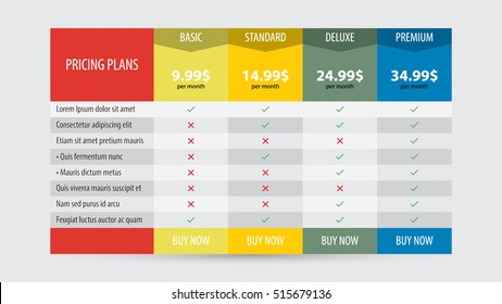 Vector pricing table design template for business plans.