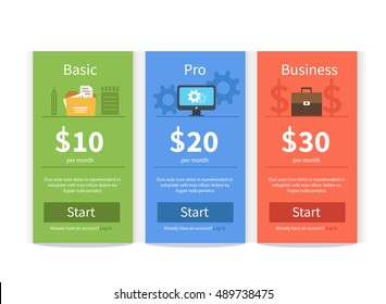 Vector Pricing table template in flat style. Design element for website.