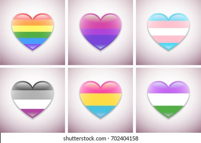 Vector pride flags for web, graphic design. Isolated heart with shadow and glare. Flags and symbols of lgbt community, lesbian, gay, bisexual, transgender, asexual, genderqueer, pansexual, homosexual.