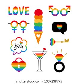 Vector pride symbols set for LGBT party. Gay and lesbian parade stickers - love; heart; flag in rainbow colors. Homosexual icons and logos.