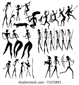 vector primitive figures looks like cave painting