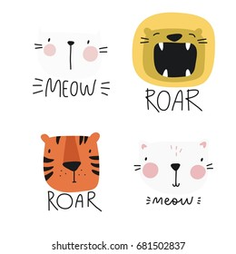 Vector print with cute animal. Tiger, cat  and lion