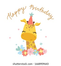 Vector print with a cute giraffe. African baby animal, adorable kid, happy birthday lettering