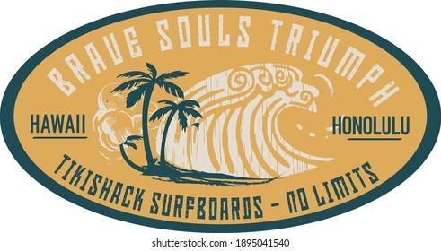 Vector print designs with Hawaii, tropical, surf, tiki mask themed.