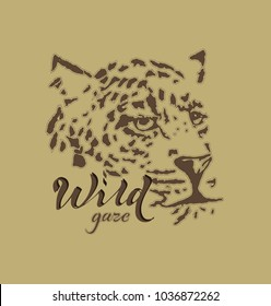 Vector print for female t-shirt. Wild cat, leopard design for screen-printing press, two one-color print. Creative poster. Can be used for fabric, wallpaper, print for textile clothes in fashion.