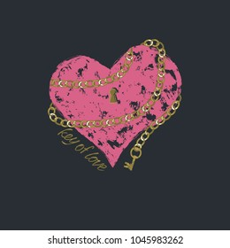 "Vector print heart for female t-shirt. Design for screen-printing press, four colour print. Stylized word ""key of love"". For textile clothes in fashion luxury design."