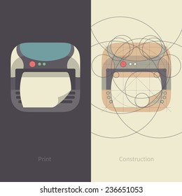 Vector Print Icon with Printer construction. Flat Design Style