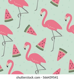 Vector print  with pink flamingo and watermelon