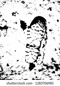 Vector Print Texture. footprints human shoes silhouette in snow . Design Element . Traces of Boot . Mud splash grunge texture - Vector