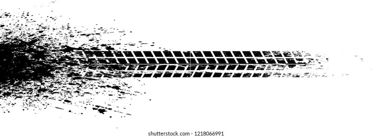 Vector Print Textured Tire Track . Design Element . Car tread silhouette . Mud splash grunge texture