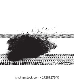 Vector Print Textured Tire Track . Design Element . Car tread silhouette . Mud splash grunge texture. Tyre track banner .