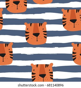 Vector print with Tiger for baby