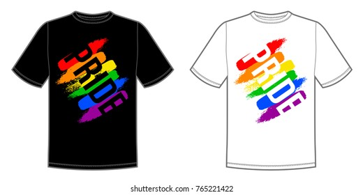 Vector print for t-shirt with Pride lgbt bright rainbow