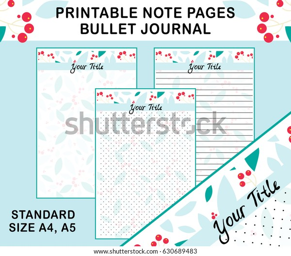 picture relating to Printable Note Pages referred to as Vector Printable Observe Webpages Diary Planners Inventory Vector