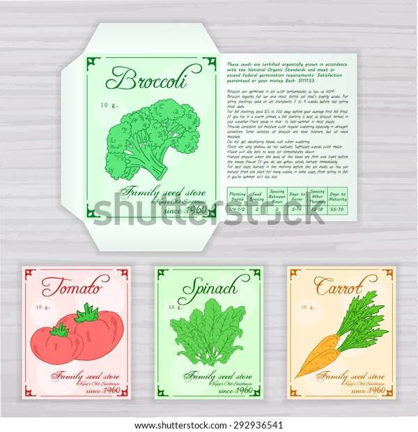 photo regarding Free Printable Seed Packets called Vector Printable Template Seed Packet Graphic Inventory Vector