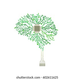 Vector printed circuit board green tree. With branches in the form of brain. Concept illustration of cpu in the center of computer system.