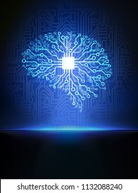 Vector printed circuit board human brain. Blue futuristic illustration of cpu in the center of computer system.   Concept of artificial intelligence