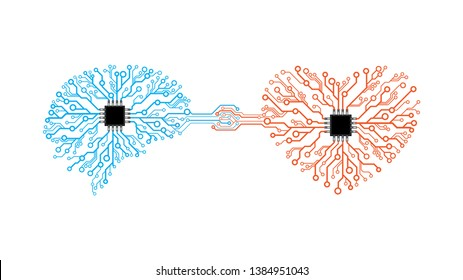 Vector printed circuit board human brain and heart. Concept illustration