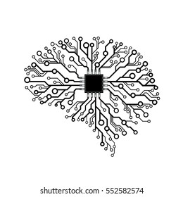 Vector printed circuit board human brain. Concept illustration of cpu in the center of computer system.
